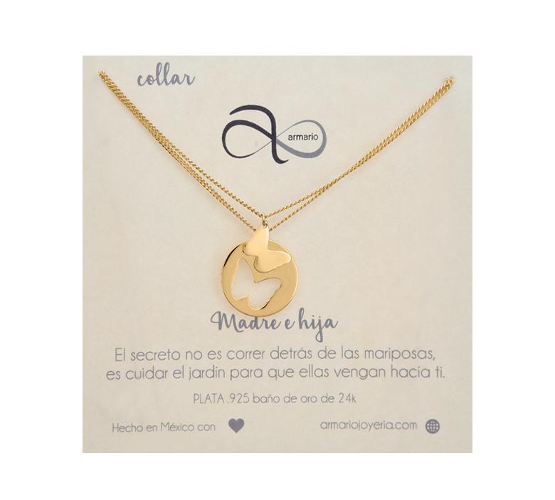 8f6cca779447 Collar Mariposa Doble Plata Bañada en Oro 24k - Armario Joyería